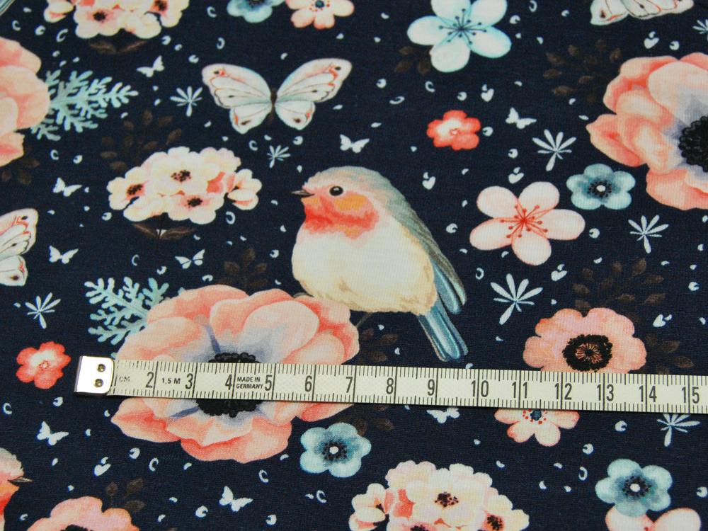 Jersey - Vogel und Schmetterling auf Dunkelblau - 0,5 Meter - 3
