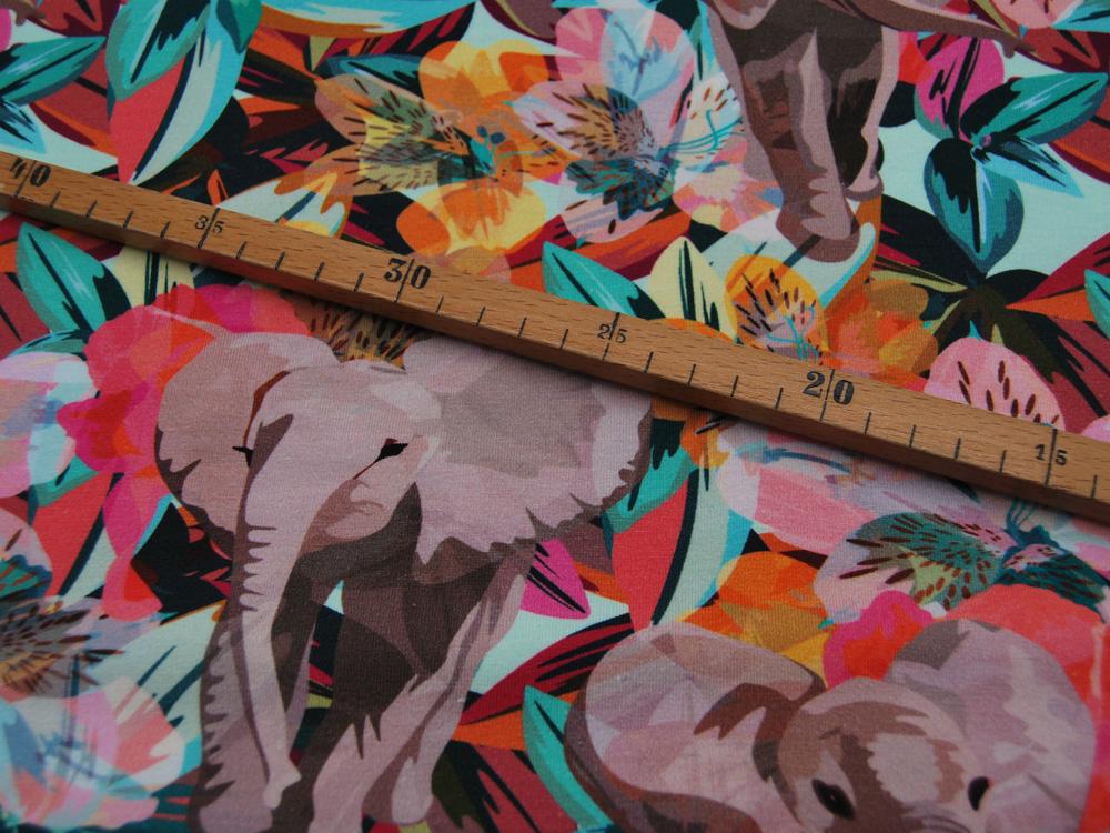 Jersey Elefanten und Blumen Graphisch Meter