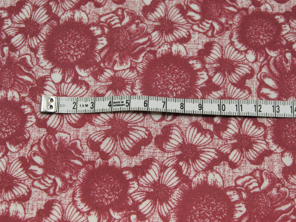 Beschichtete Baumwolle - Blumenmuster auf Rot 50x65 cm - 2
