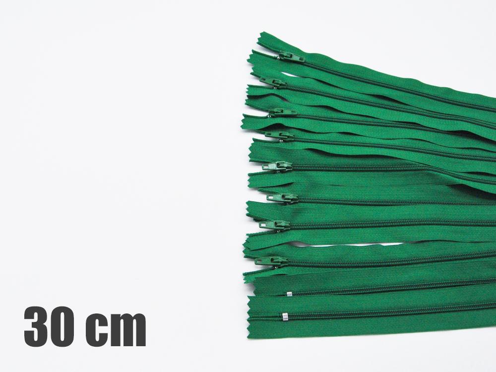 10 x 30cm grüne Reißverschlüsse