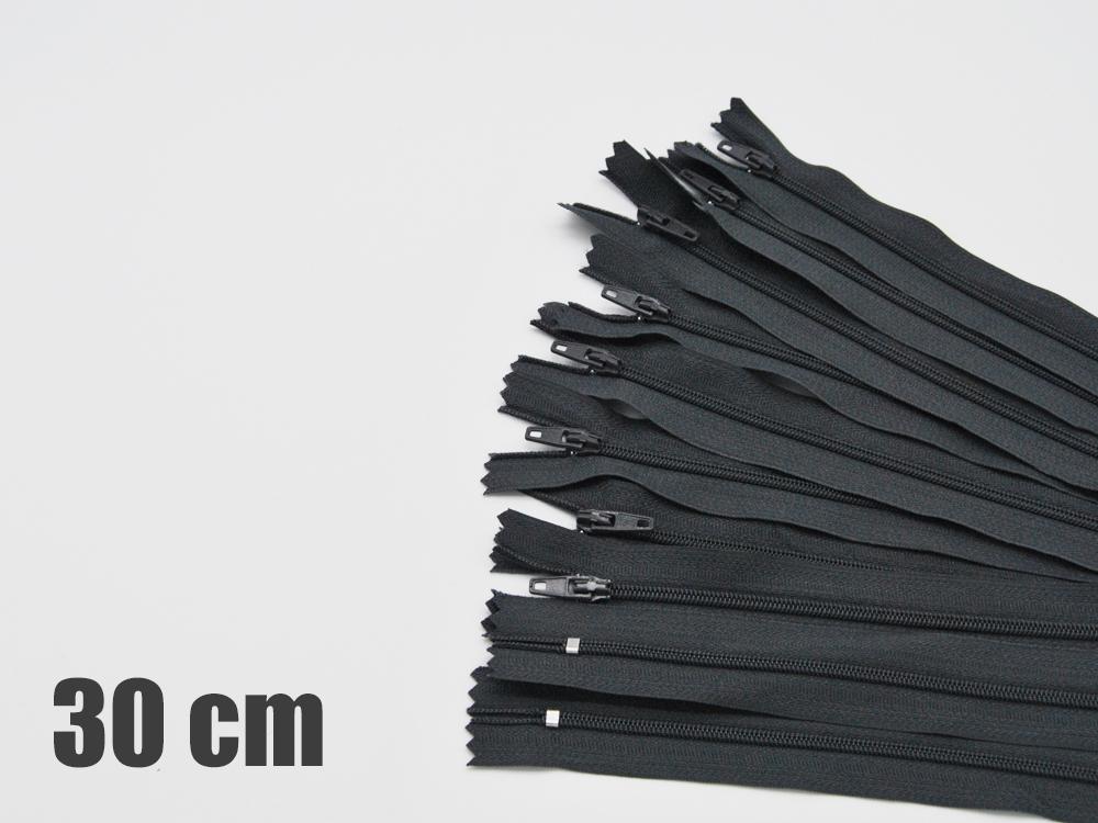 10 x 30cm dunkelgraue Reißverschlüsse