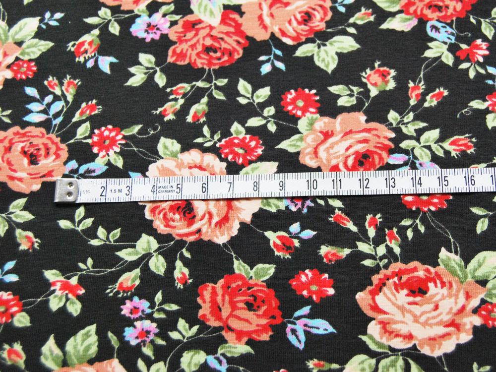 Jersey - Blumenmuster auf Schwarz - 0,5 Meter - 3