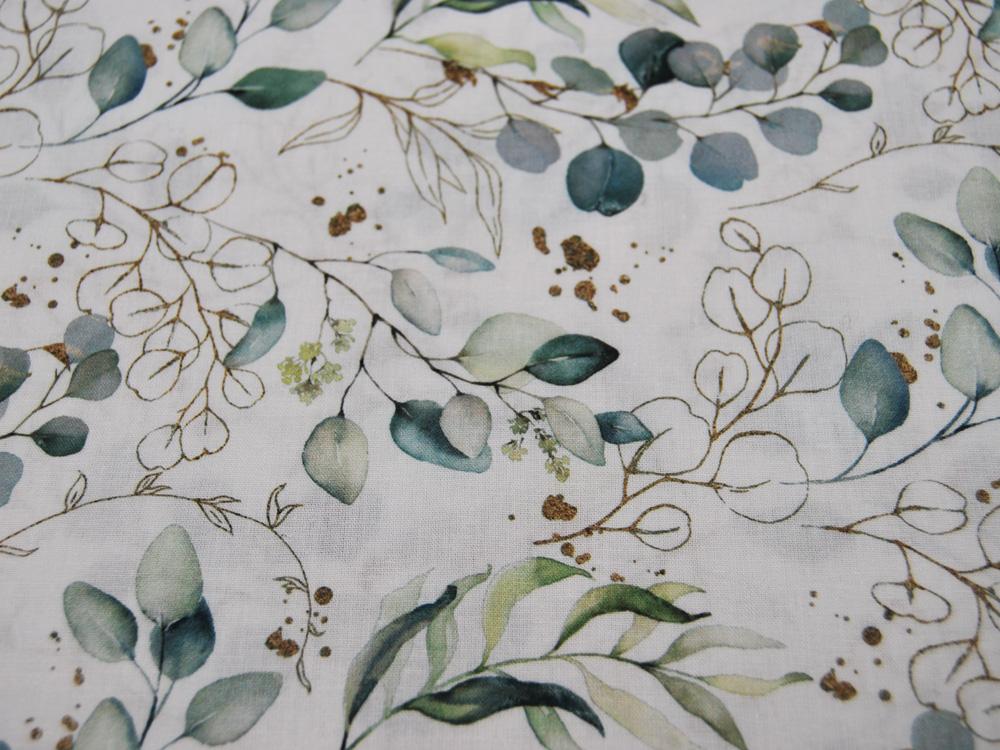 Baumwolle - Weiße Blümchen auf Hellblau/Mint