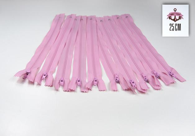 10 x 25 cm rosafarbene Reissverschluesse