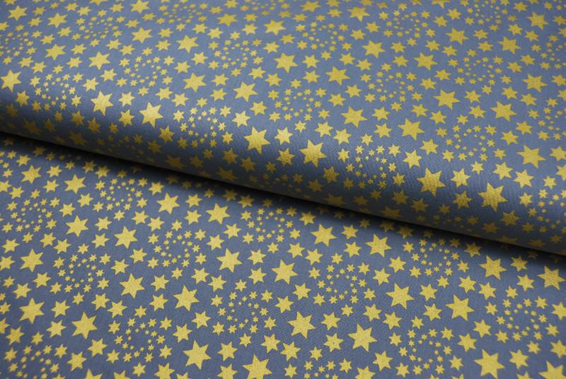 Baumwolle Grau mit goldenen Sternen 05m