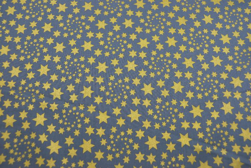 Baumwolle Grau mit goldenen Sternen 0,5m - 4