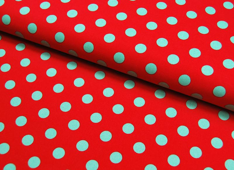 Gepunktete Baumwolle Rot mit grünen Punkte - 1