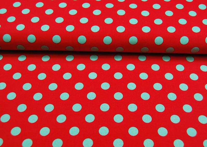 Gepunktete Baumwolle Rot mit grünen Punkte - 3