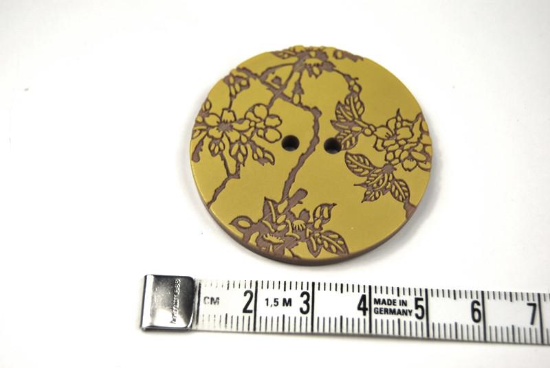 Knöpfe Stück: Senfgelb auf Braun mit