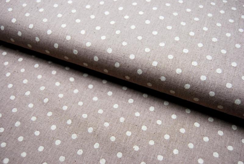 Creme Punkte auf Beige Baumwolle-Leinen 05m - 1