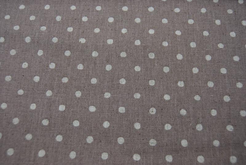 Creme Punkte auf Beige Baumwolle-Leinen 05m