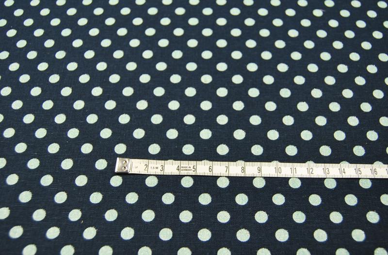 Mint Punkte auf Blau - Baumwolle-Leinen 0 5m