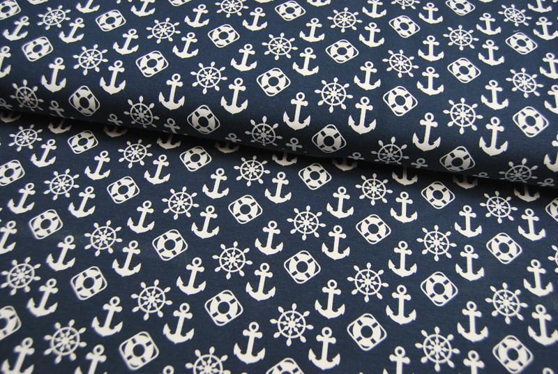 JERSEY Maritime Symbole auf Dunkelblau 05m