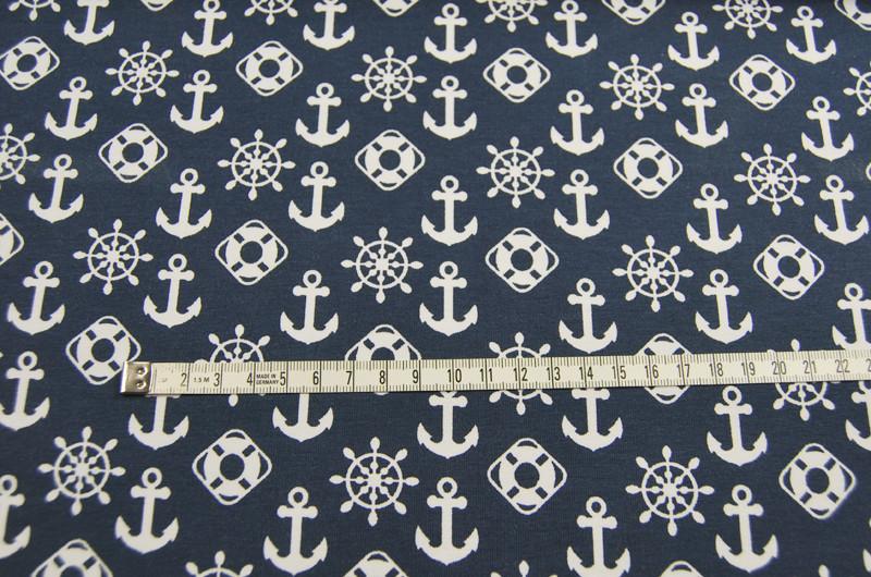 JERSEY - Maritime Symbole auf Dunkelblau - 0,5m