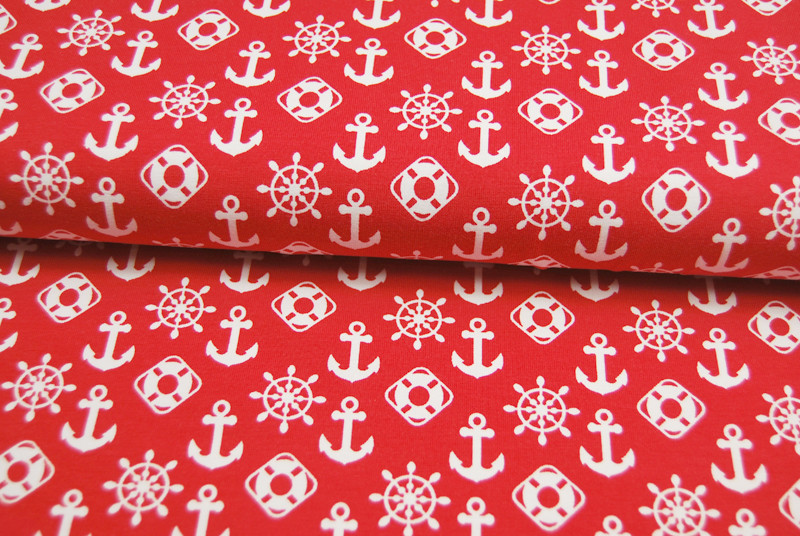 REST JERSEY Maritime Symbole auf Rot