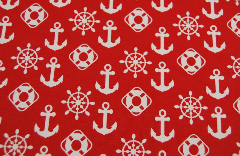 JERSEY Maritime Symbole auf Rot 05m