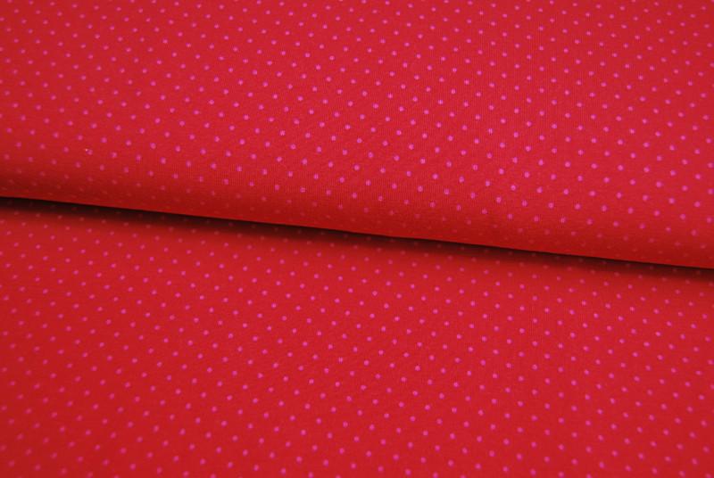 JERSEY - Rot mit rosa Punkten - 0,5 Meter - 1