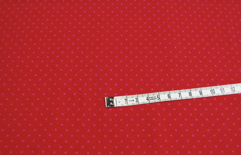 JERSEY - Rot mit rosa Punkten - 0,5 Meter - 2