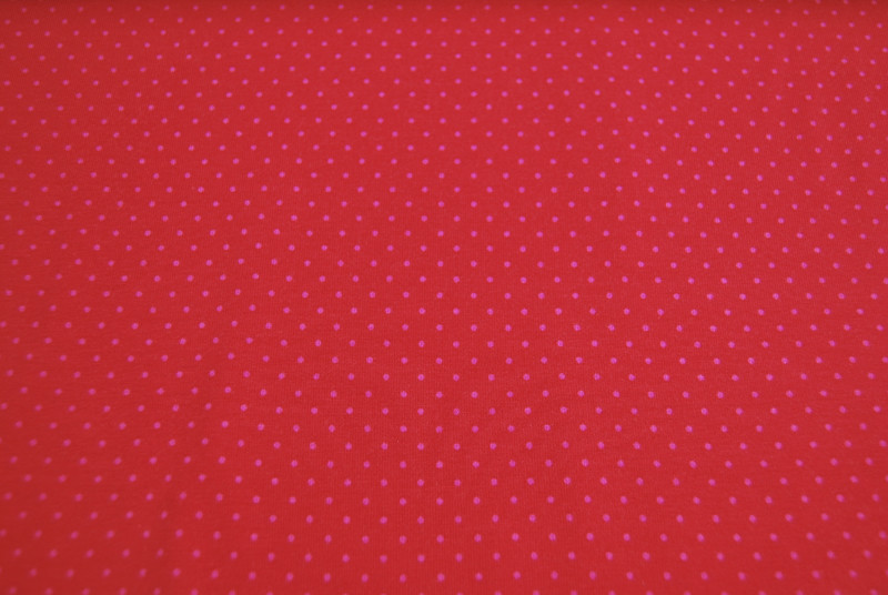 JERSEY - Rot mit rosa Punkten - 0,5 Meter - 3