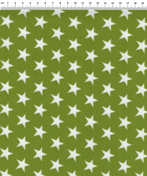 Beschichtete Baumwolle Sterne auf Grün 50x70
