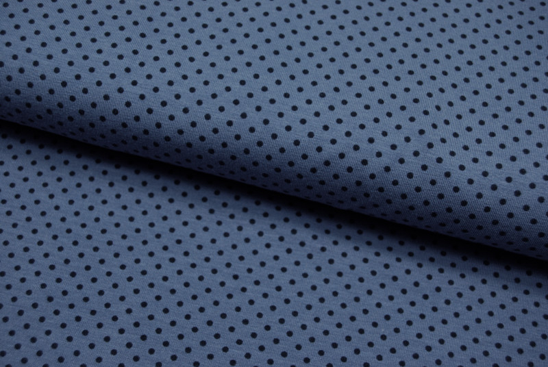 JERSEY - Jeansblau mit Nachtblauen Punkt - 0 5m