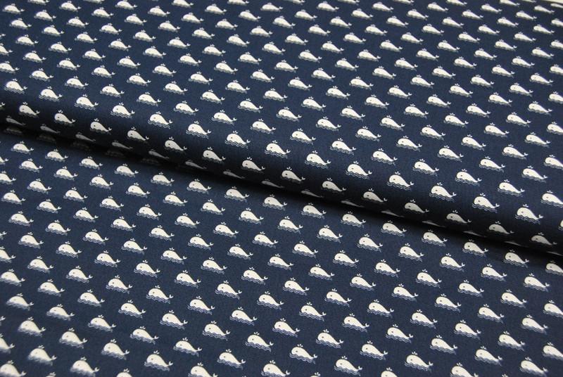 Baumwolle Marine Kleiner Wale auf Blau