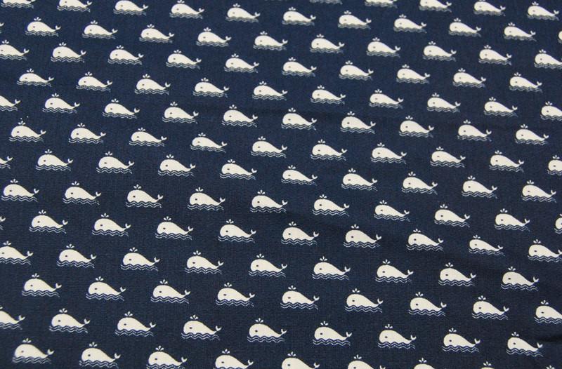 Baumwolle - Marine - Kleiner Wale auf Blau 0,5m