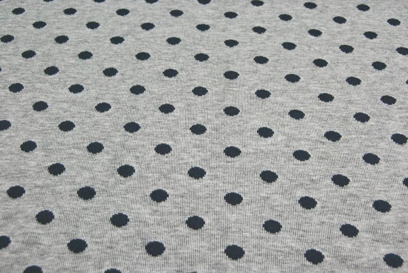 Jacquard/Strick- Punkte auf Graumeliert - 0,5m - 2
