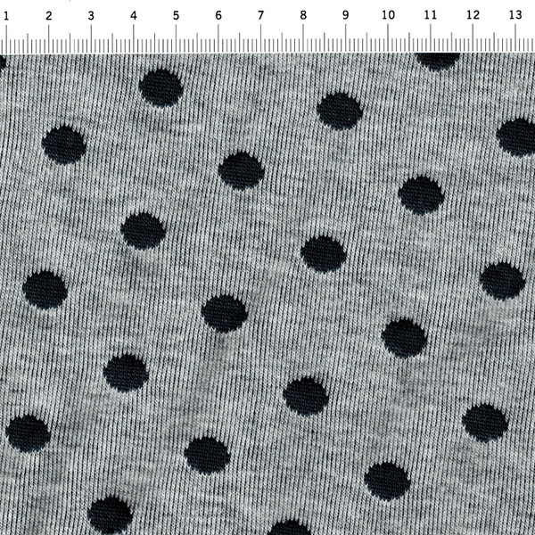 Jacquard/Strick- Punkte auf Graumeliert - 0,5m - 3