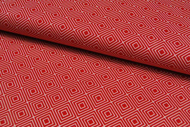 Square Quadrate auf Rot Baumwolle 05m - 1