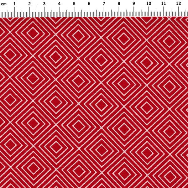 Square Quadrate auf Rot Baumwolle 05m - 2