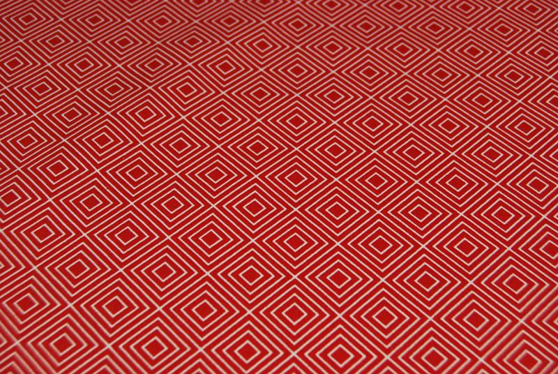 Square Quadrate auf Rot Baumwolle 05m