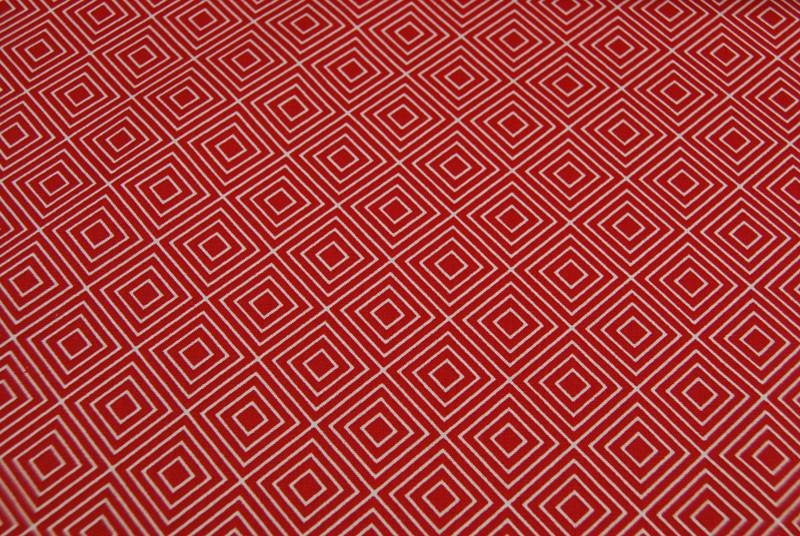 Square Quadrate auf Rot Baumwolle 05m - 4