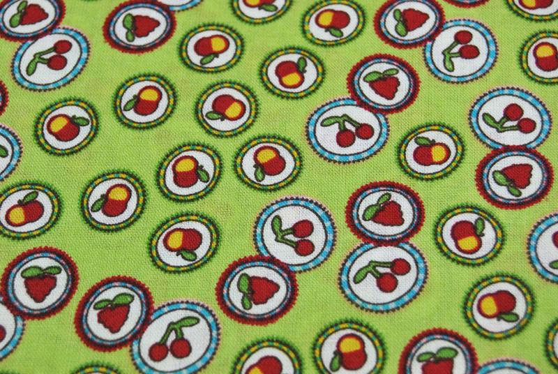 Baumwolle - Obst auf Grün - 3