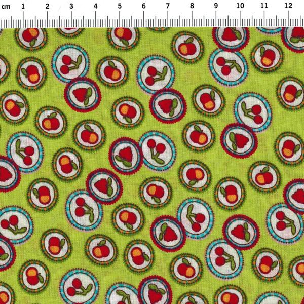 Baumwolle - Obst auf Grün - 4