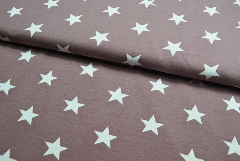 Jersey - Weiße Sterne auf Milchkaffee 0,5 m