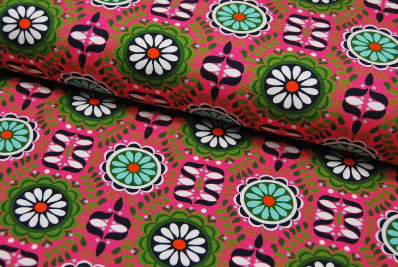 REST JERSEY Graphisches Blumenmuster auf Pink
