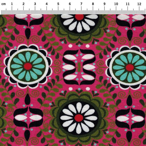 JERSEY - Graphisches Blumenmuster auf Pink - 0 5m