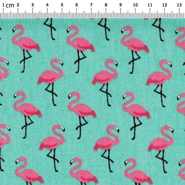 Beschichtete Baumwolle Flamingo auf Tuerkis 50x78cm