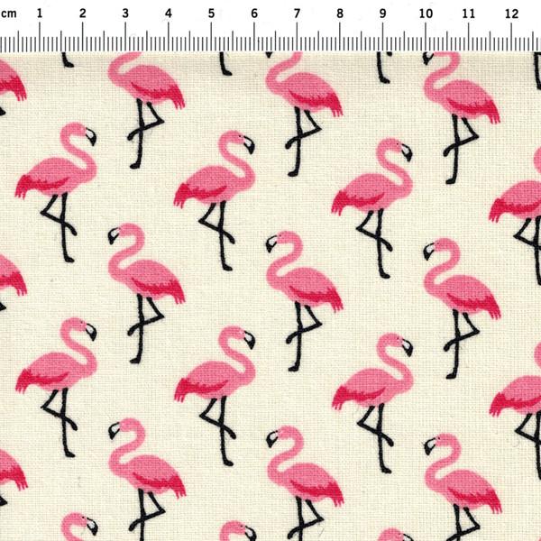Beschichtete Baumwolle Flamingo auf Creme 50x78cm - 2