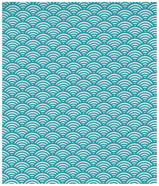 Beschichtete Baumwolle Wellenmuster Tuerkis 50x78cm