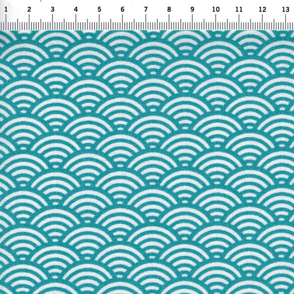 Beschichtete Baumwolle Wellenmuster Türkis 50 x