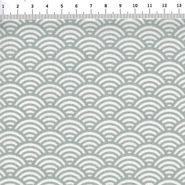 Beschichtete Baumwolle Wellenmuster Grau 50cm 150cm
