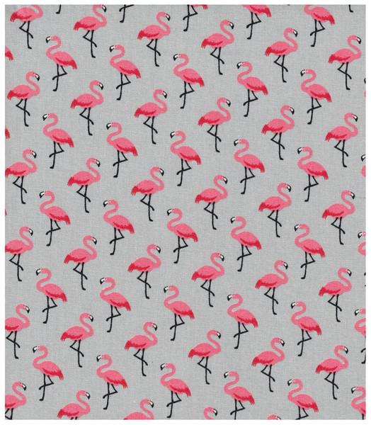Beschichtete Baumwolle Flamingo auf Grau 50x78cm - 1