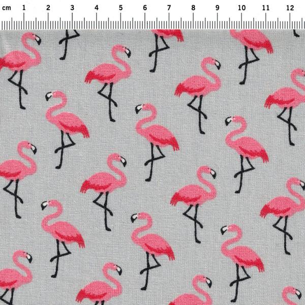 Beschichtete Baumwolle Flamingo auf Grau 50x78cm - 2