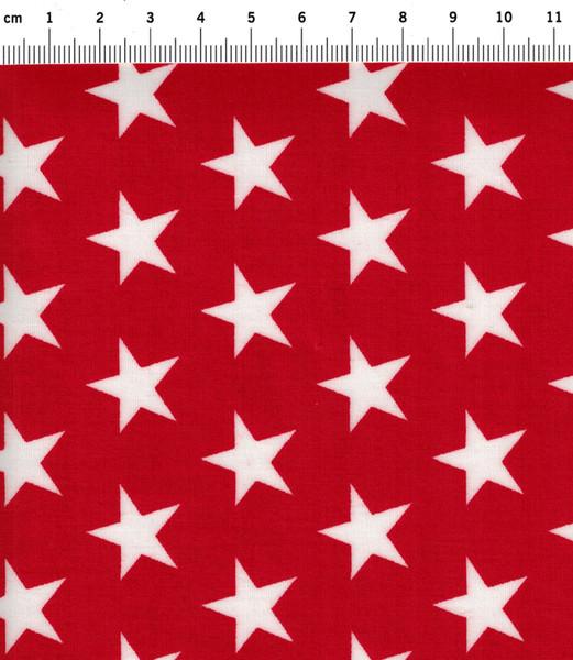 Beschichtete Baumwolle Sterne auf Rot 140cm