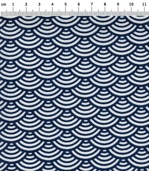 Beschichtete Baumwolle Wellenmuster Blau 50 x