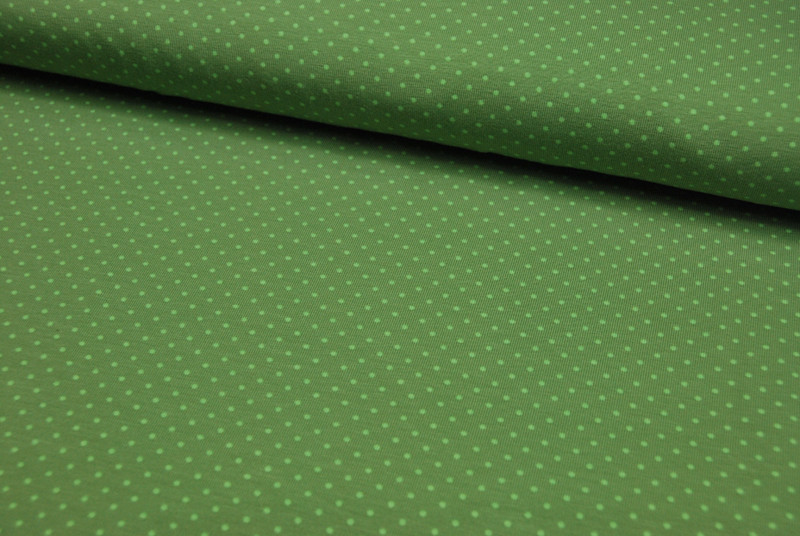 JERSEY - Grün mit hellgrünen Punkten - 0,5 Meter