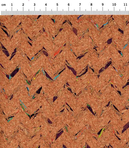 Korkstoff mit Einwebungen - Stück 50 x 60 cm - 2