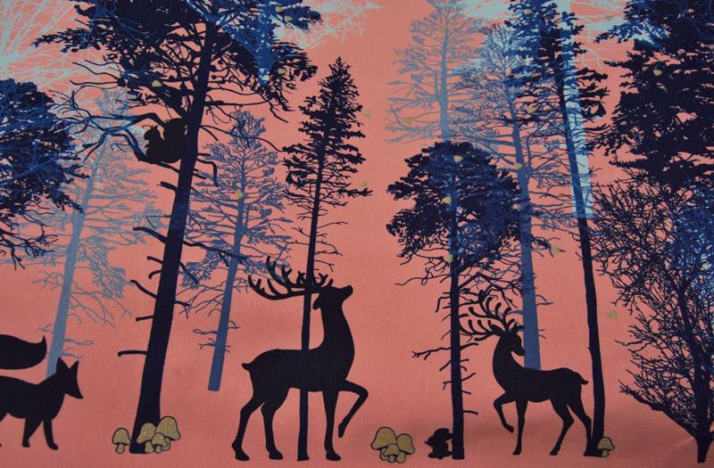 JERSEY - Waldtiere-Bäume auf Altrosa -